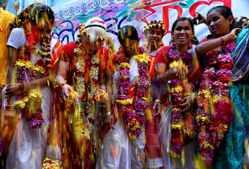 Blind childrens are playing Holi Festival with Flower petals in a Blind School of Kolkata . stock photo