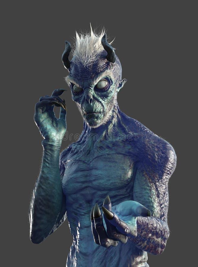 Blind Demon op grijs stock illustratie