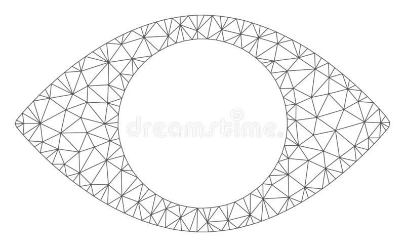 Blind Eye Vector Mesh 2D Model. Mesh blind eye model icon. Wire carcass triangular network of vector blind eye isolated on a white background. Abstract 2d mesh stock illustration