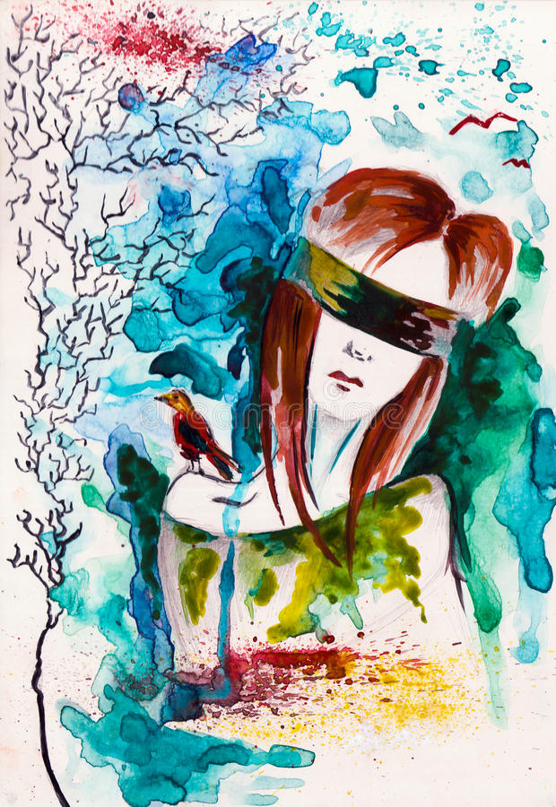 Blind girl. This is a illustration of blind girl. (watercolor stock illustration