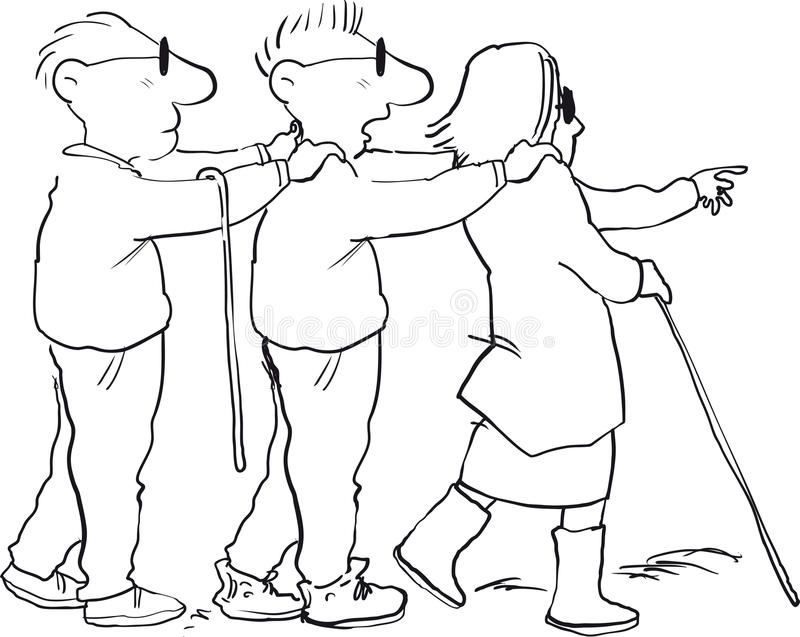 Blind leading blind. Three blind people walking in a line stock illustration