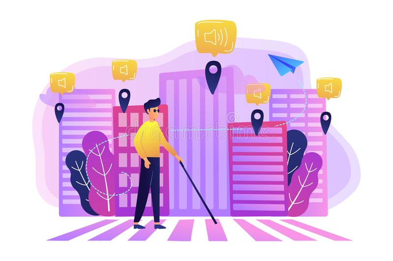 Barrier-free environment and smart city concept illustration. A blind man crossing the street with smart tags and voice notifications around. Barrier-free royalty free illustration