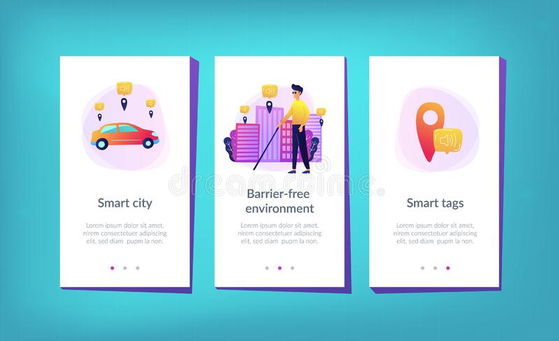 Barrier-free environment and smart city app interface template. A blind man crossing the street with smart tags and voice notifications around. Barrier-free vector illustration