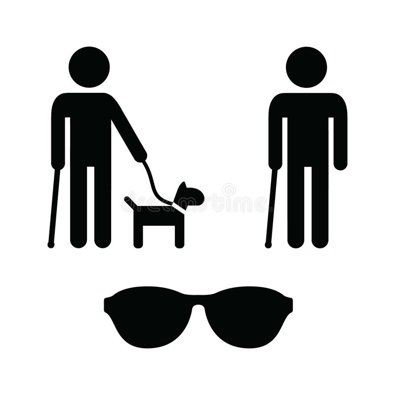 Download Blind Man Icons Set - With Guide Dog, Cane Stock Illustration - Illustration of helper, caine: 27280355