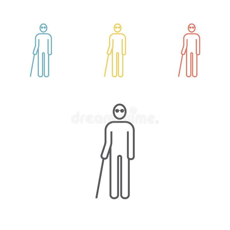 Blind man line icon royalty free illustration