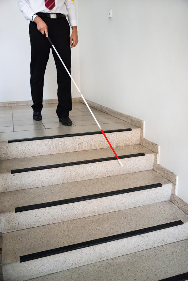 Free Blind Man Moving Down On Stairway Stock Photos - 58563403