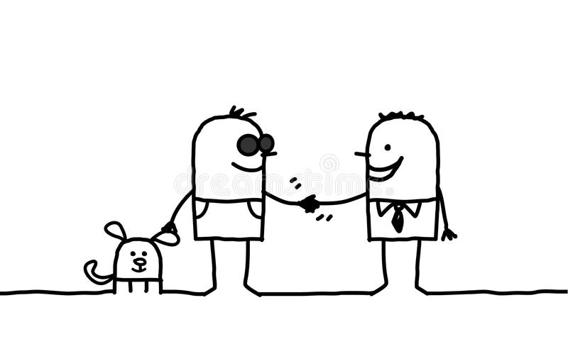 Blind man shaking hand with other man royalty free illustration