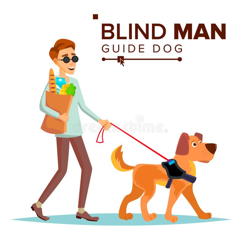 Blind Man Vector. Person With Pet Dog Companion. Blind Person In Dark Glasses And Guide Dog Walking. Cartoon vector illustration