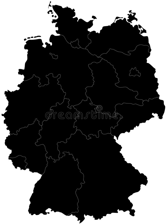 Blind map of Germany. With regions borders. Names of the regions, main cities, and neighbouring countries are in an additional format (.AI) in the latent layer