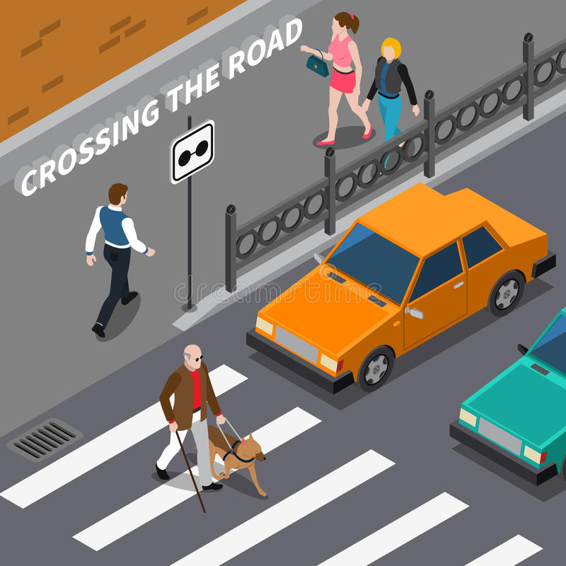Blind Person On Crosswalk Isometric Illustration royalty-vrije illustratie