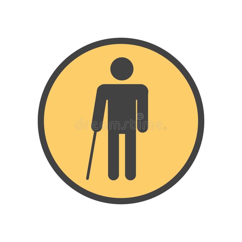 Blind person med en pinne vektor illustrationer