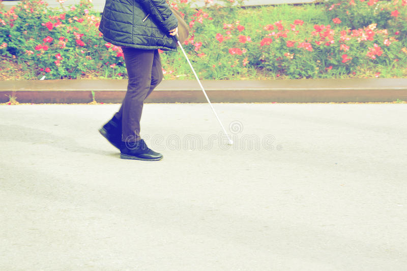 Blind person walking with a stick crossing a pedestrian walkway. Empty copy space stock images