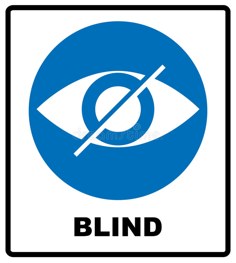 Blind sign in blue circle, notice label. Crossed eye icon. Simple flat logo royalty free illustration