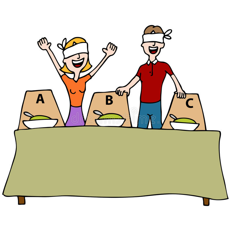 Blind Taste Test Table. An image of a people at a blind taste test table wearing blindfolds royalty free illustration