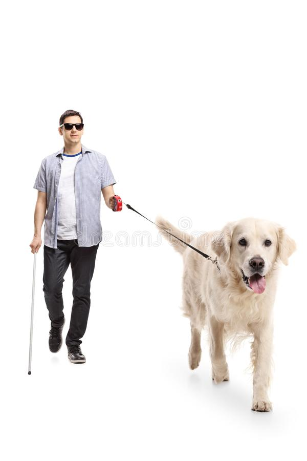 Blind young man walking with the help of a dog royalty free stock photography