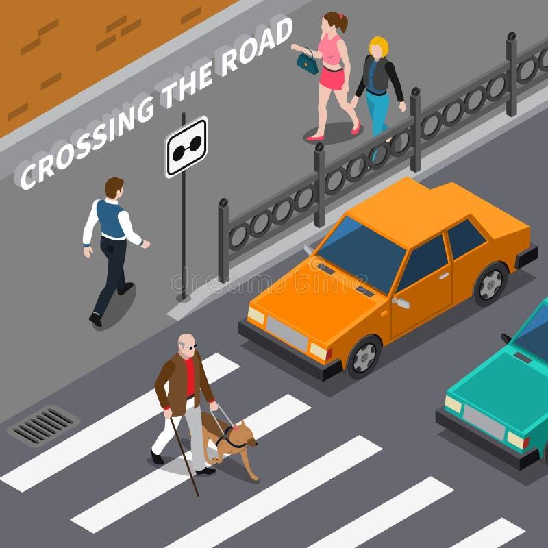 Blinda Person On Crosswalk Isometric Illustration royaltyfri illustrationer