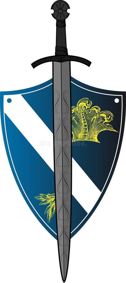 Blindaje con la espada encima stock de ilustración