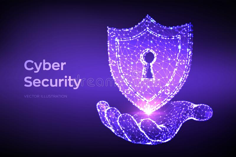 Blindaje de la seguridad Seguridad cibern?tica Escudo con el icono del ojo de la cerradura a disposición Proteja y seguridad del  libre illustration