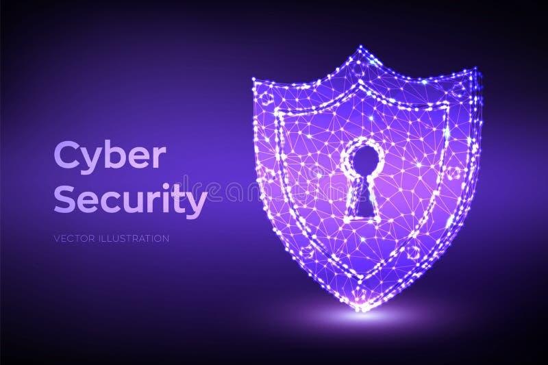 Blindaje de la seguridad Seguridad cibern?tica Escudo con el icono del ojo de la cerradura Proteja y seguridad del concepto segur libre illustration