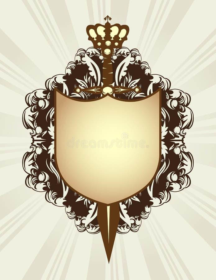 Blindaje, espada y corona stock de ilustración