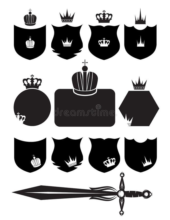 Blindaje, espada y corona ilustración del vector