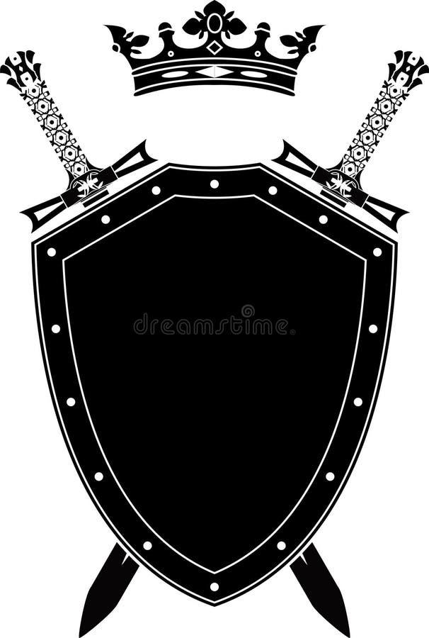 Blindaje, espadas y corona ilustración del vector