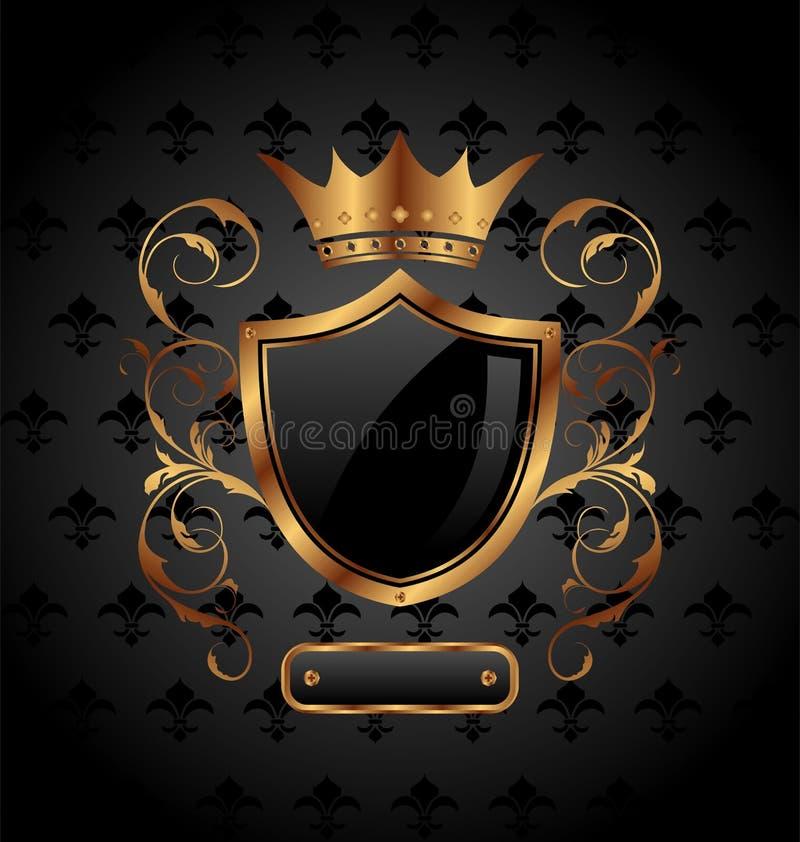 Blindaje heráldico adornado con la corona stock de ilustración