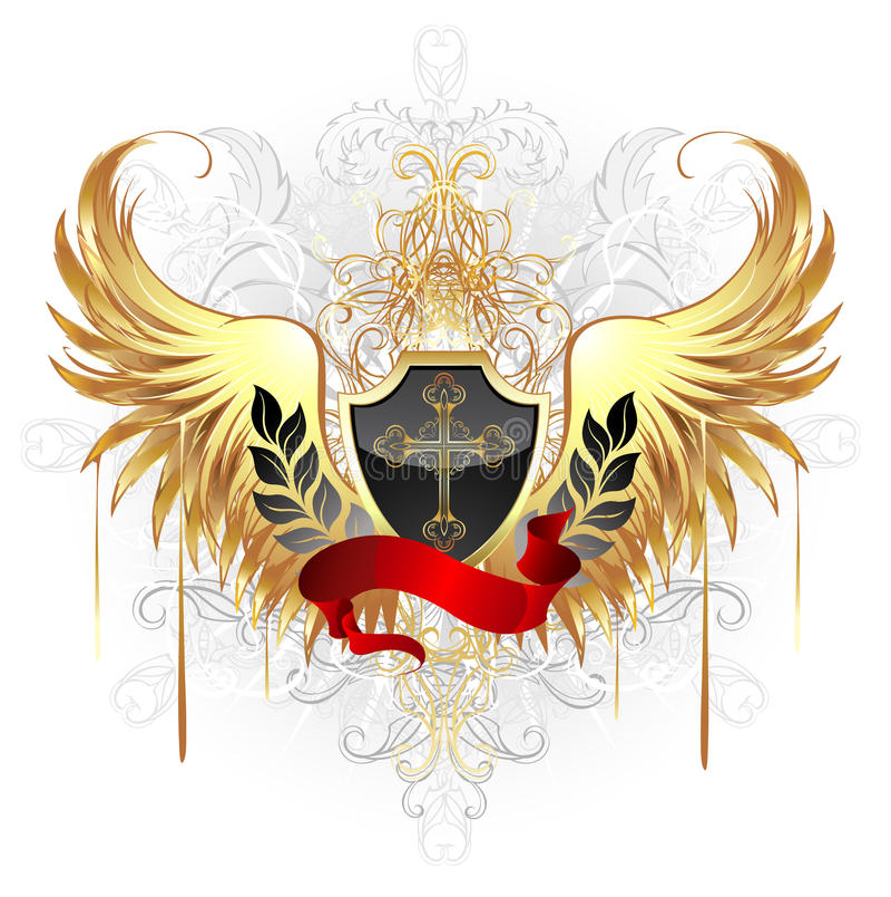 Blindaje negro con las alas de oro libre illustration