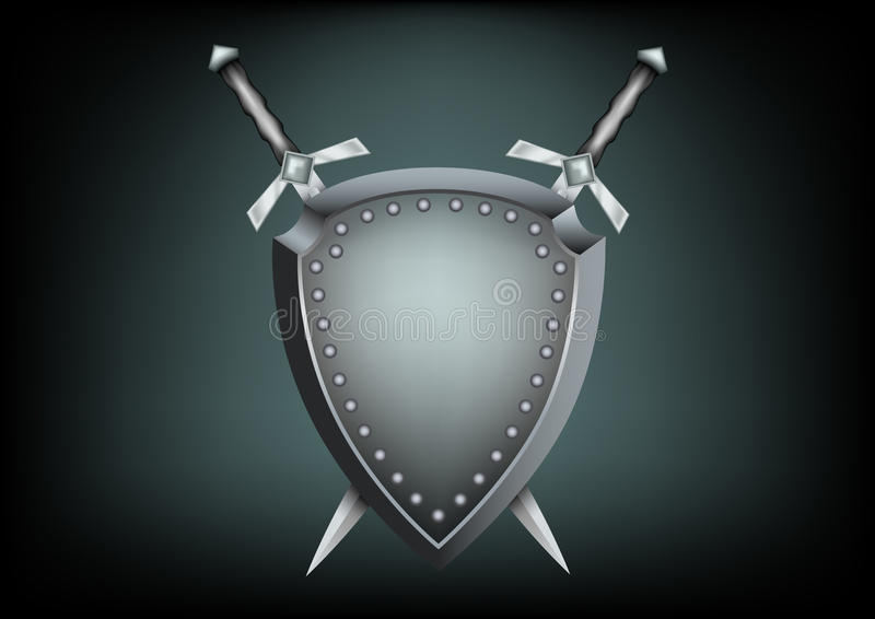 Blindaje y espadas de la seguridad stock de ilustración