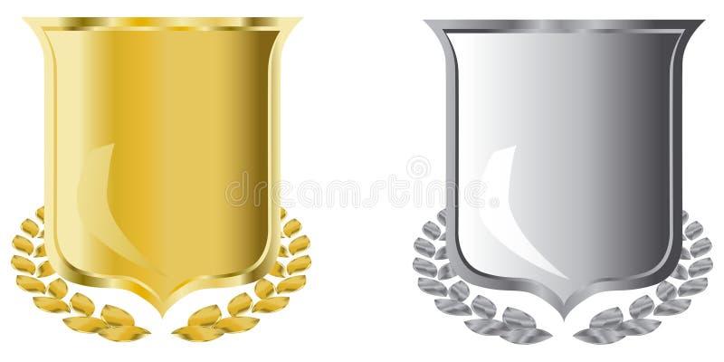 Blindajes de oro y de plata ilustración del vector