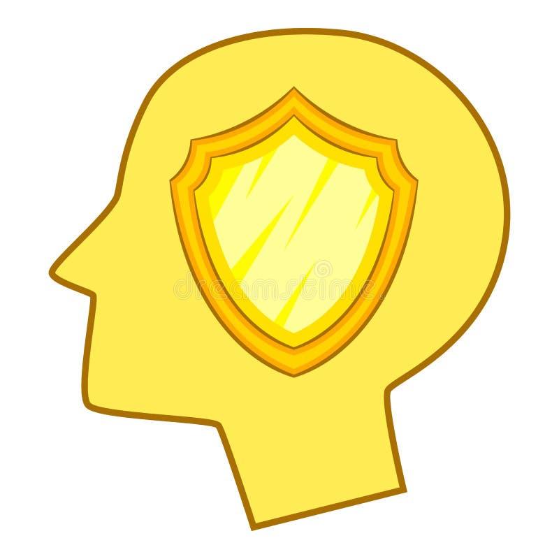 Blinde dentro del icono de la cabeza humana, estilo de la historieta ilustración del vector