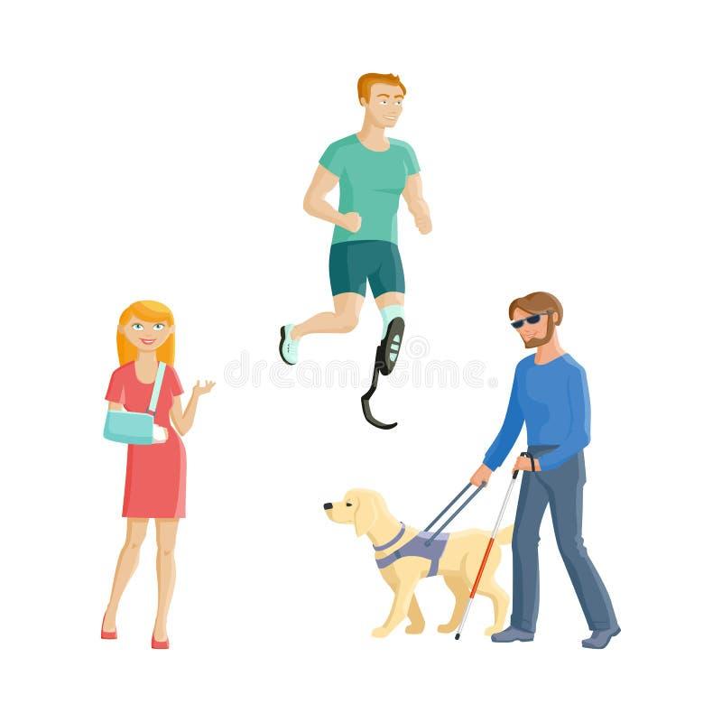 Blinde, geamputeerdesportman, gebroken wapen vector illustratie