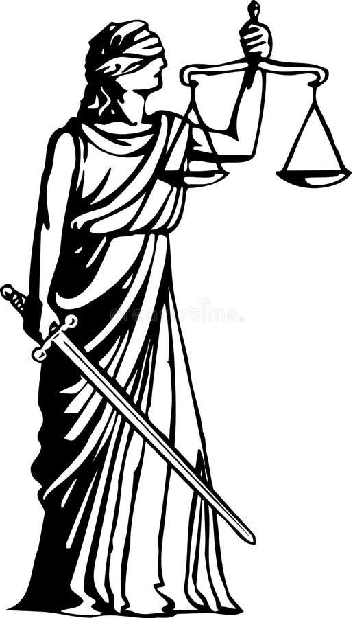 Blinde Gerechtigkeits-Illustration stock abbildung