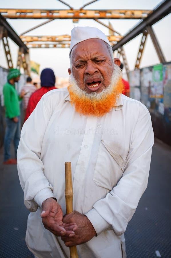 Blinde Indische begger stock fotografie