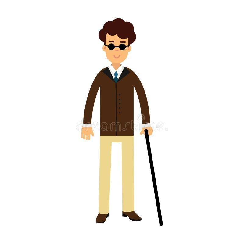 Blinde jonge mens in donkere glazen en wandelstok kleurrijke Illustratie stock illustratie