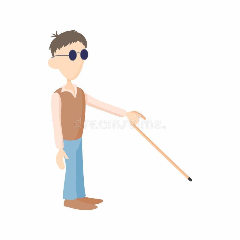 Blinde met rietpictogram, beeldverhaalstijl vector illustratie