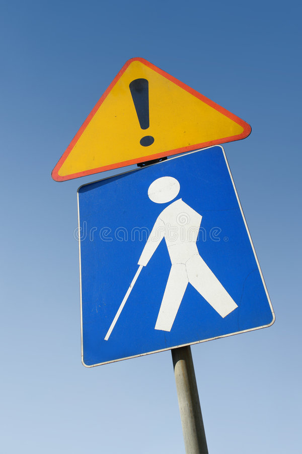 Blinde persoon roadsign stock foto's