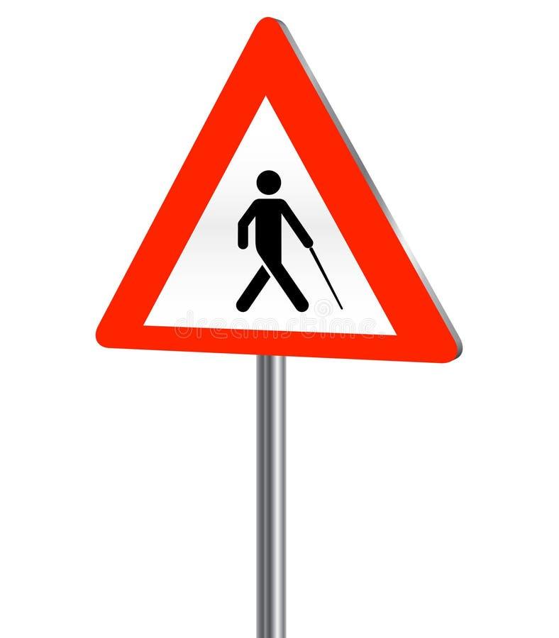 Blinde persoonsverkeersteken vector illustratie