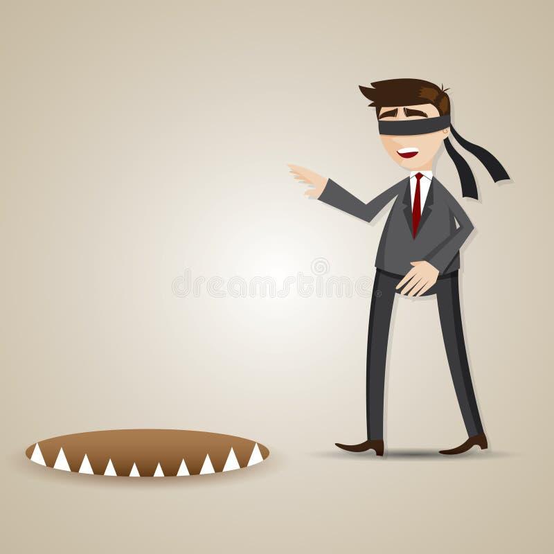 Blinder Geschäftsmann der Karikatur, der in Gefahr geht stock abbildung