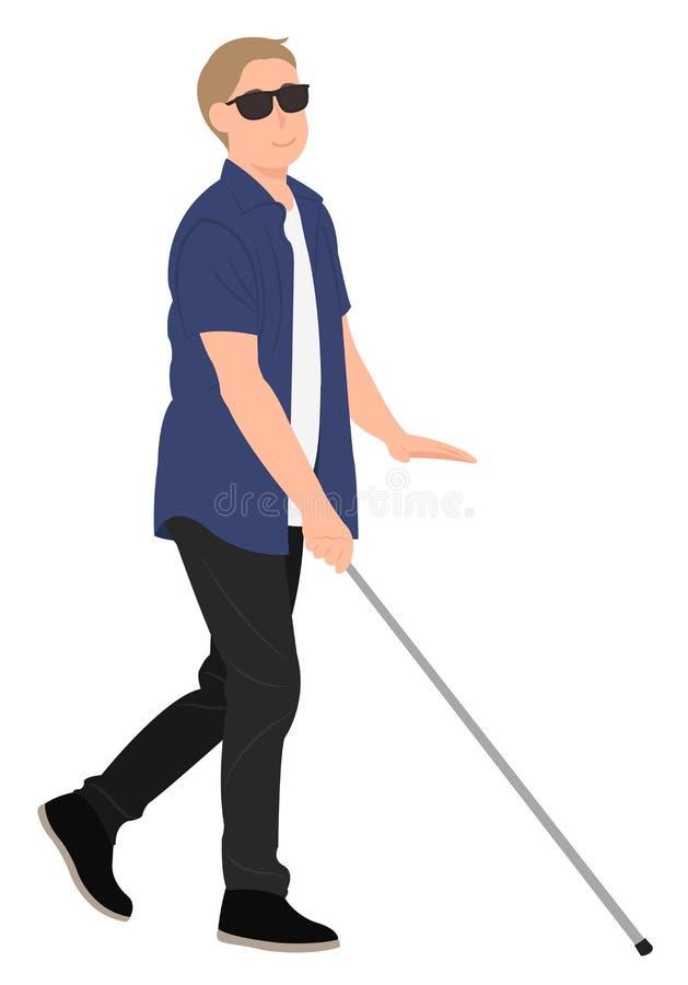 Blinder Weg des jungen Mannes des Karikaturleute-Charakterentwurfs mit einem gehenden Stock stock abbildung