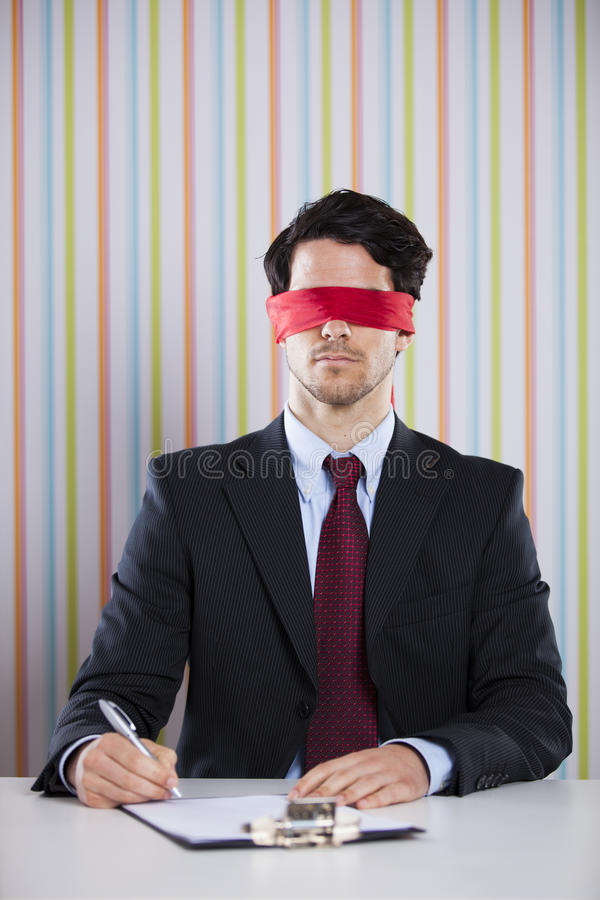 Blindfold businessman royalty free stock photos