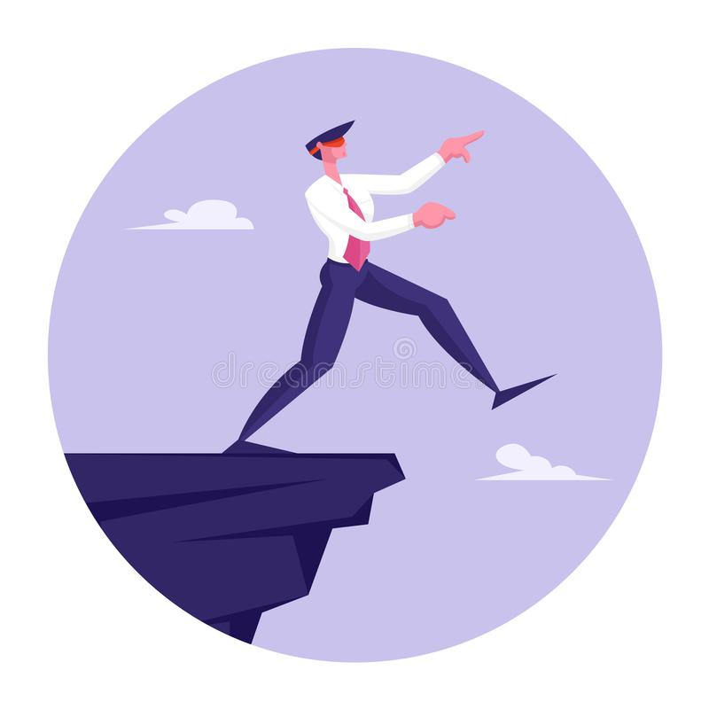 Blindfold Businessman Step into Abyss. Leap of Faith Concept with Business Man Walks Off the Cliff Searching Path. Near Deep Precipice. Business Risk and stock illustration