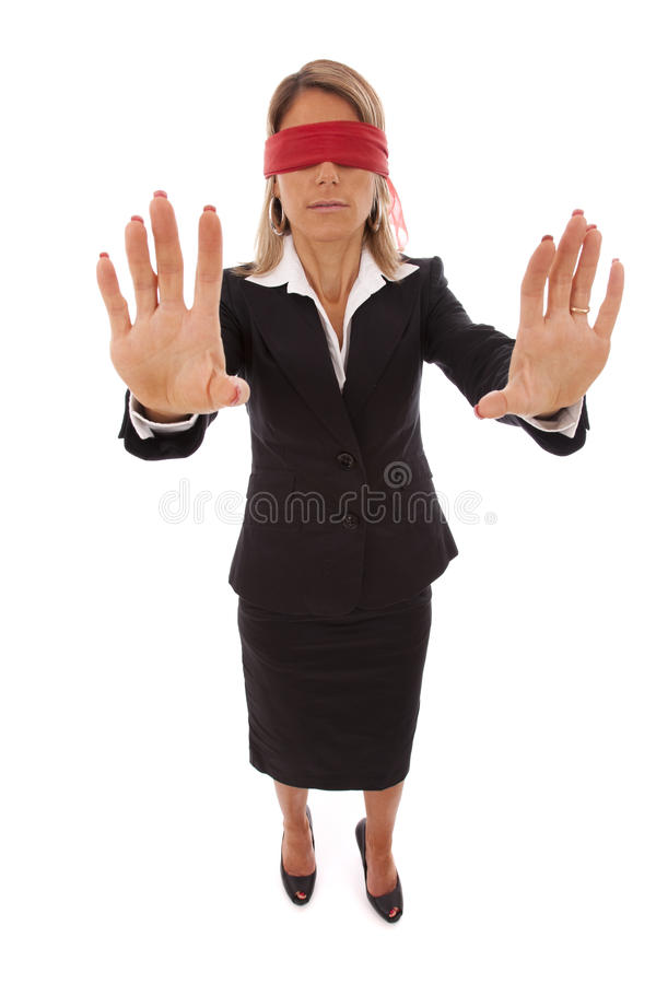 Blindfold businesswoman royalty free stock images