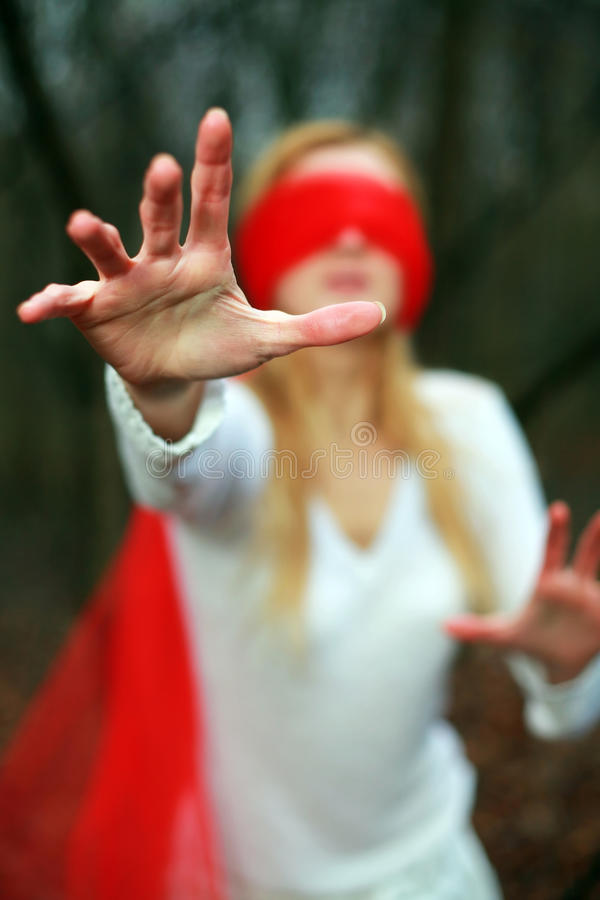 Blindfold rosso fotografia stock