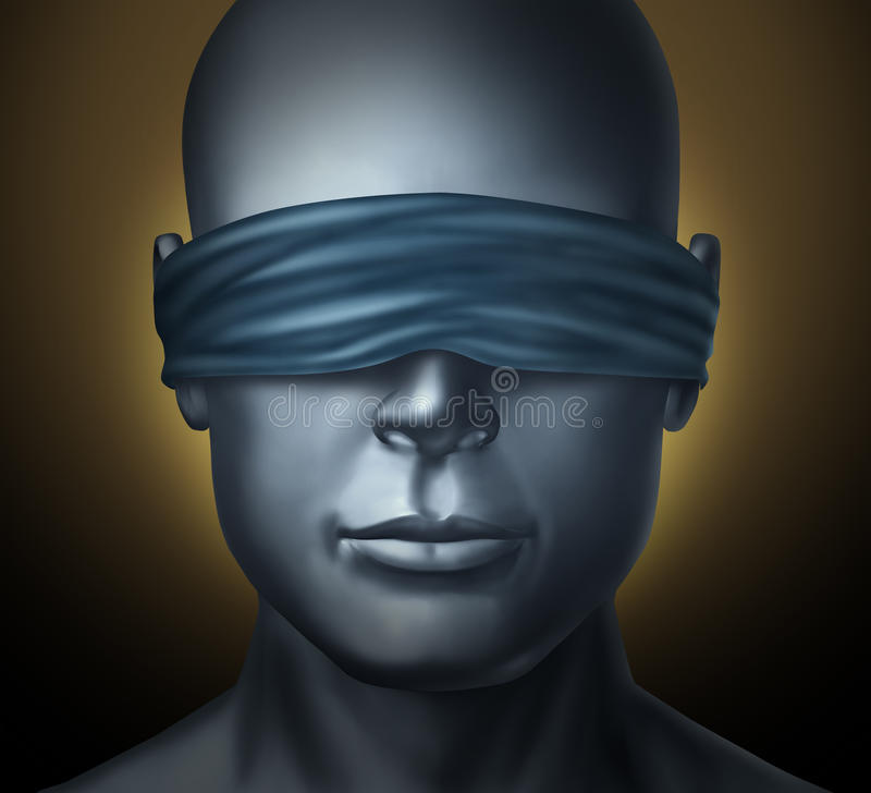 Blindfolded. Concept with a human head with a blindfold as a symbol of honesty and being a neutral judge with trust and blind justice or living with solitude royalty free illustration