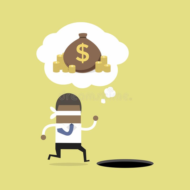 Blindfolded African businessman running to find money with pit hole. vector illustration