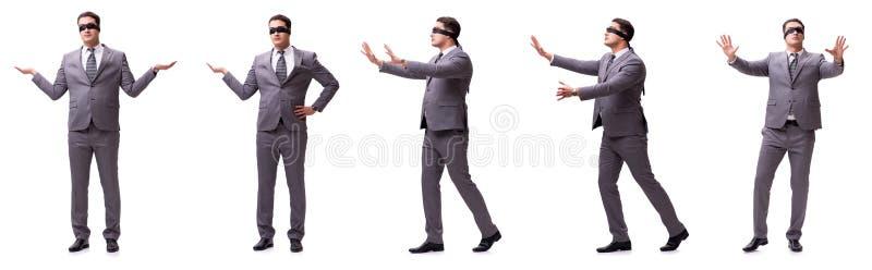 The blindfolded businessman isolated on white royalty free stock photo
