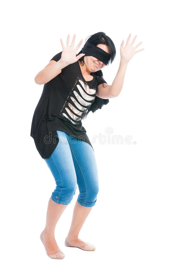 Blindfolded teen girl acting scared royalty free stock photo