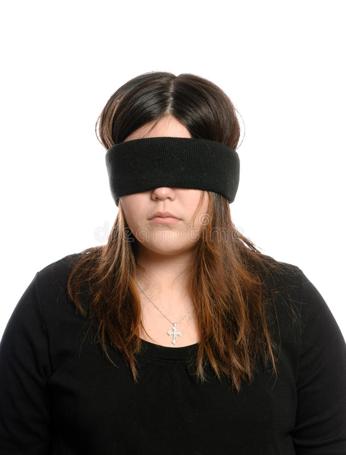 Blindfolded Teenager royalty free stock image