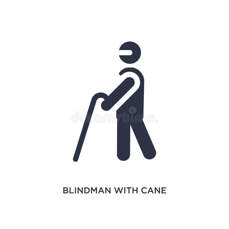 blindman con l'icona della canna su fondo bianco Illustrazione semplice dell'elemento dal concetto di comportamento illustrazione vettoriale